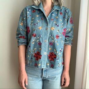 Vtg Denim Floral Embroidery Jacket Blue Cropped